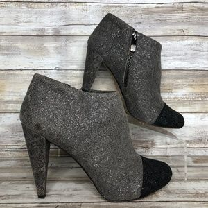 Vince Camuto 6.5M Gray Sparkly Cap Toe Booties.